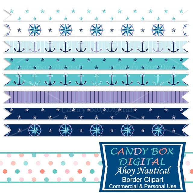 Ahoy Nautical Ribbon Border Clip Art by Candy Box Digital. Great for newsletters, scrapbooks, journals, or blog and website dividers!