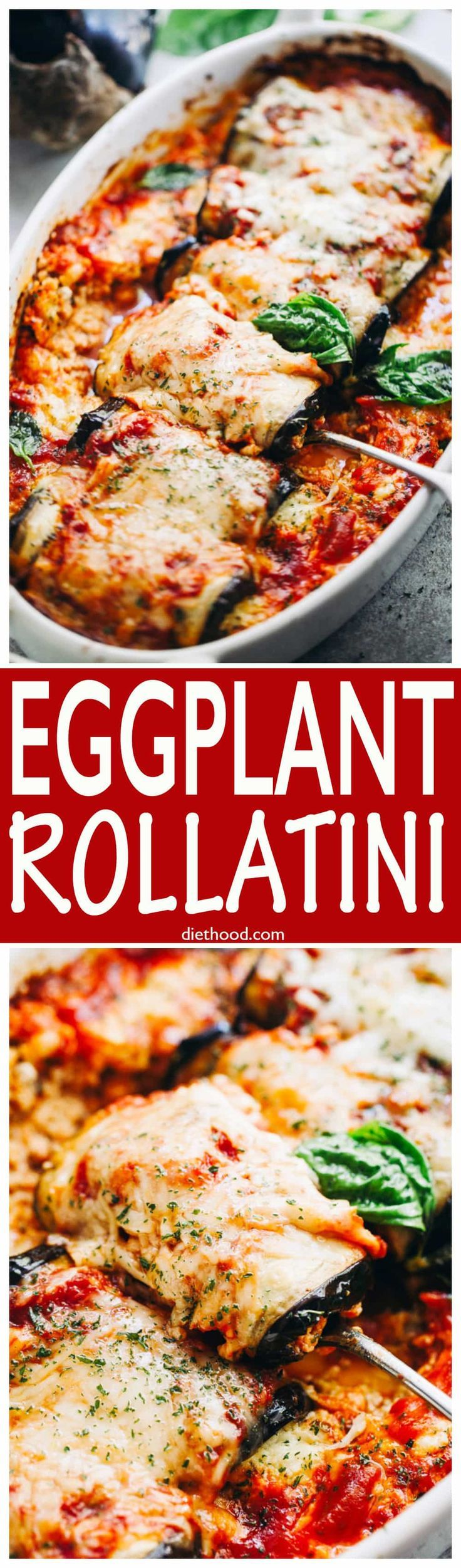 Eggplant Rollatini - Eggplant rollups stuffed with a cheesy ricotta blend, and baked in a delicious marinara sauce. via @diethood