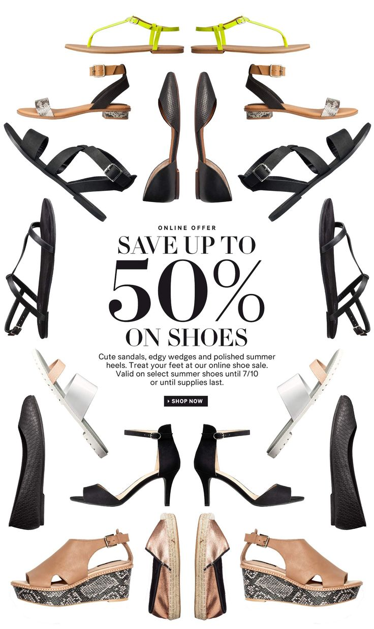 Hot days, cool shoes with 50% off