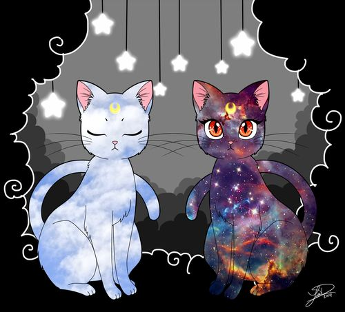 Beautiful Luna and Artemis art by missxlisaxchan