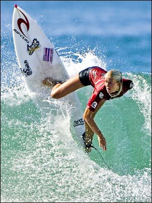 "Bethany Hamilton, she is a professional surfer and is excellent at what she does. There is one thing about Bethany that makes her stand out more than others while on the board. She is missing her left arm from a shark attack that occurred when she was only 13. ""People can do whatever they want if they just set their heart to it, and just never give up, and just go out there and do it."""