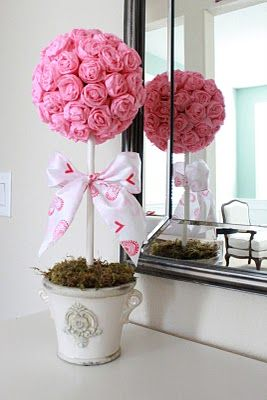 "Valentine's Crepe Paper Roses Topiary 5"" foam ball, 1 roll of crepe paper, vase…"