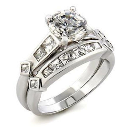 silver wedding set engagement rings cz channel band plus size 11 12