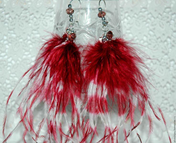 Купить Серьги перья Bordo - бордовый, серьги, серьги длинные, перья, Перья натуральные