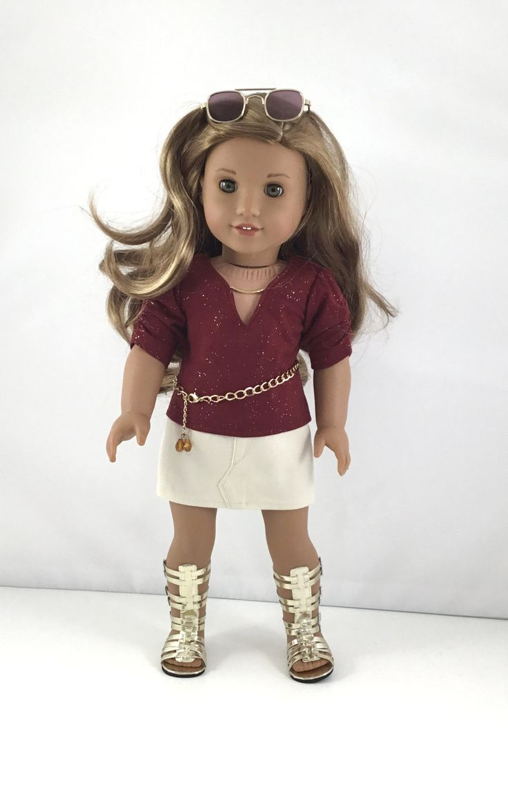 "18T Uptown Girl - Top, Skirt, Belt and Sandals for 18"" Dolls like American Girl (R) Doll Lea, Grace , McKenna, Rebecca, Kit, Lanie and Saige by MjsDollBoutique18T on Etsy"