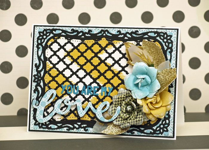 Hobbyworld February 2015 Challenge Inspiration card. Love cards without red and pink.