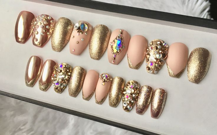 Rose Gold Swarovski Press on Nails | Chrome | Matte Nude | Glitter Tip | AB Crystals | False Nails | Custom Shapes Sizes by DippyCowNails on Etsy