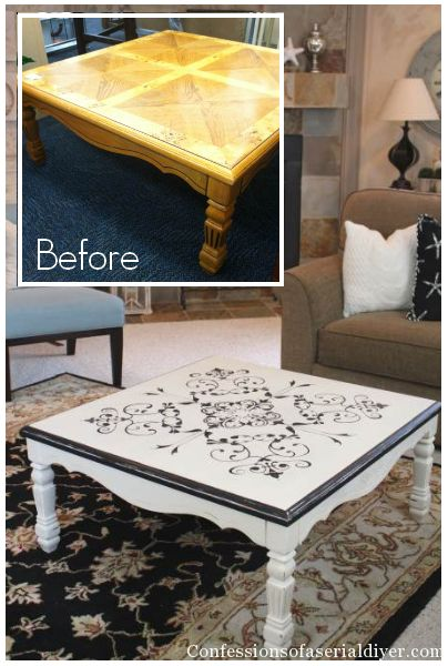 Vintage Tile-Inspired Table Tutorial --- although this is transferred/painted, vinyl would be beautiful too.