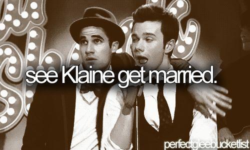 We take it all in stride: Glee Buckets, Glee Bucketlist, Klaine Otp, Wedding, Fiction Buckets Lists Glee, Fiction Bucketlist Glee, Gle Klaine, Happen, Klaine Forever