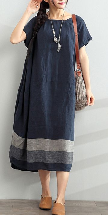 blue summer linen dresses oversize casual sundress Slash neck maxi dress