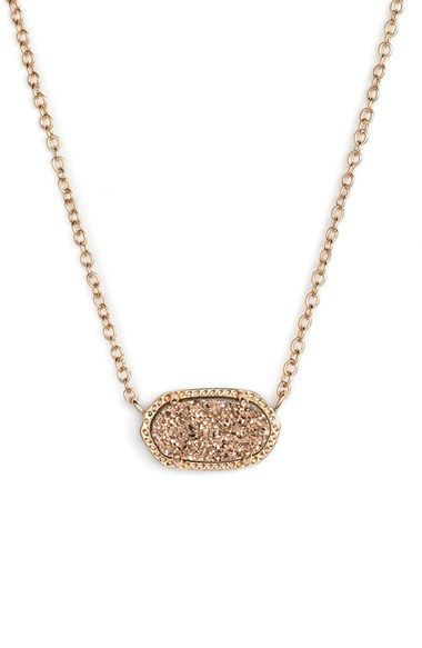 Kendra Scott 'Elisa' Pendant Necklace available at Nordstrom. Color: Rose Drusy/Rose Gold
