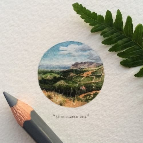Constantia Nek is a low pass over the Table Mountain range in Cape Town, South Africa  Paintings For Ants: Tiny Paintings That Will Make Your Heart Smile • Page 3 of 5 • BoredBug