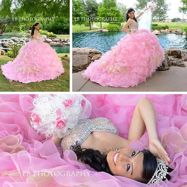 Ooh La La! We couldn't pick just one so we made a collage! EB Photography did an outstanding job capturing on film one of the most important days of our gorgeous #Quinceanera Mitzy, in #Houston, #Texas @QuinceaneraCollection- Style 26781