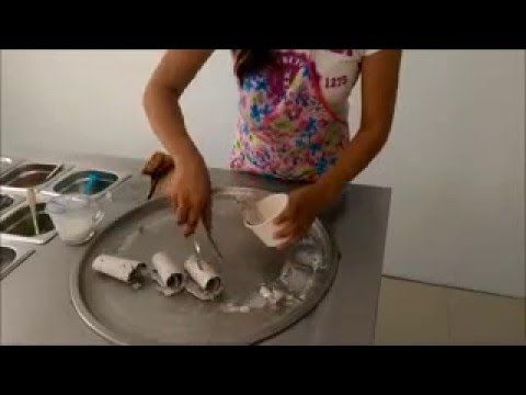 fried ice cream india Rolled, Flat Pan, Fried, Ice Cream Machine Introduction - YouTube
