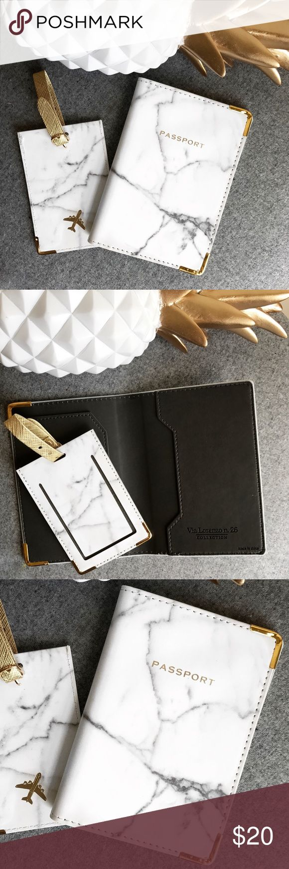 NIB • P a s s p o r t • H o l d e r NIB white marble passport holder with matching luggage tag. Via Lorenza n. 26  Accessories