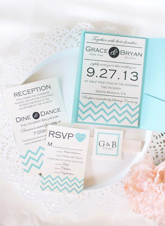 Chevron Wedding Invitation by LovebyThreeConcepts on Etsy,