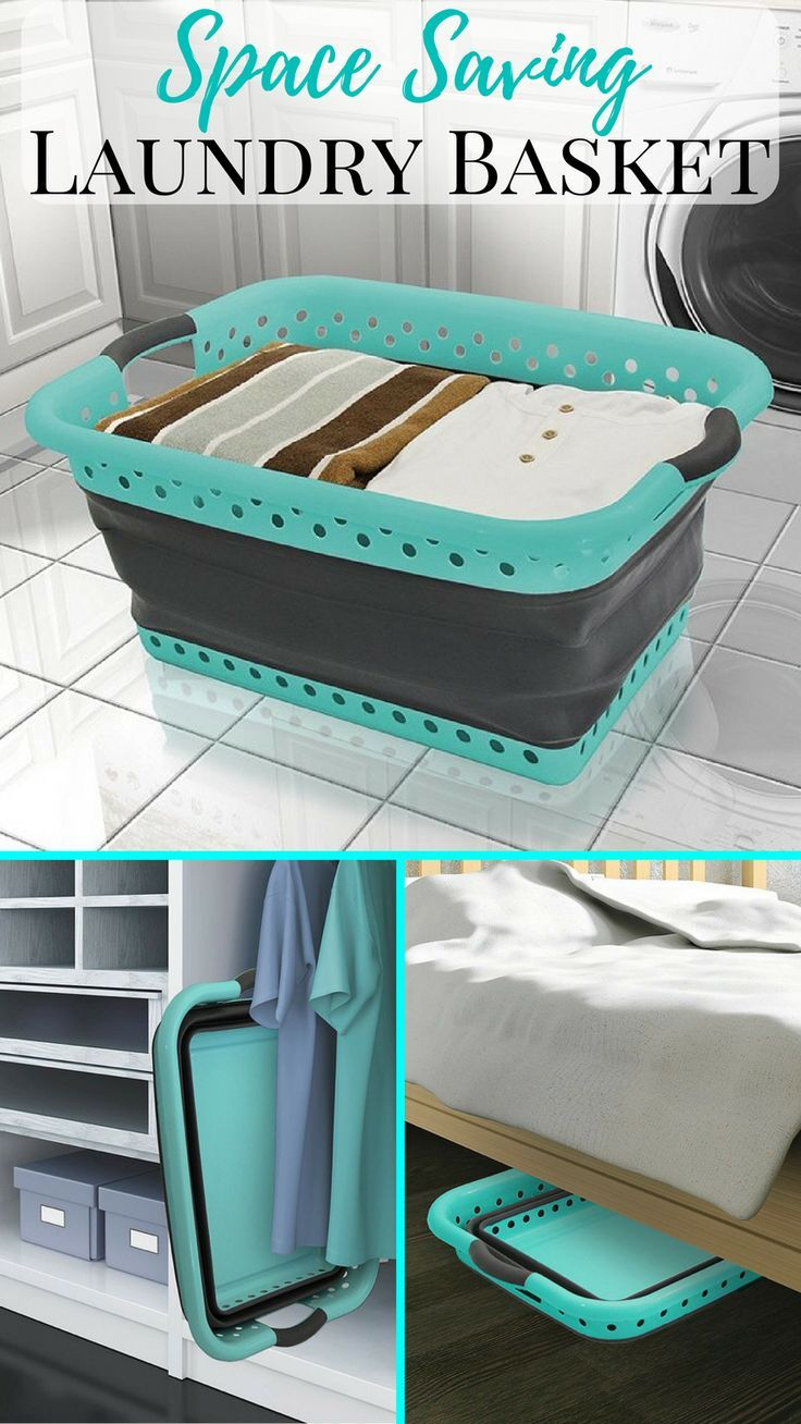 This space saving collapsible laundry basket is perfect! #laundry #ad #laundryroom #dorm