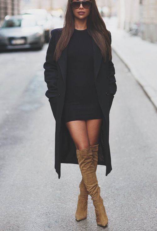 A black coat and black bodycon dress are a great outfit formula to have in your arsenal. For the maximum chicness opt for a pair of tan suede over the knee boots.   Shop this look on Lookastic: https://lookastic.com/women/looks/black-coat-black-bodycon-dress-tan-suede-over-the-knee-boots/16091   — Black Bodycon Dress  — Black Coat  — Tan Suede Over The Knee Boots