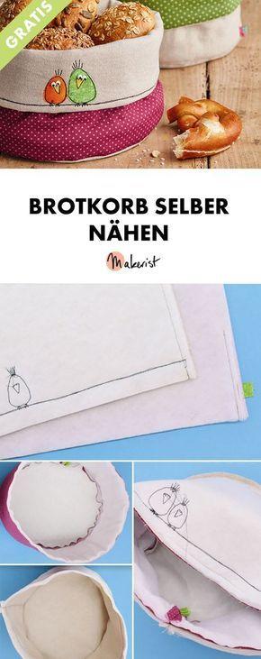 Brotkorb selber nähen - kostenlose Nähanleitung via Makerist.de