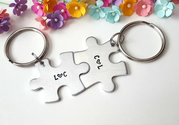 Puzzle Piece Keychains, Boyfriend Gift, Initial Keychains, Anniversary Gifts for Boyfriend, Long Dis