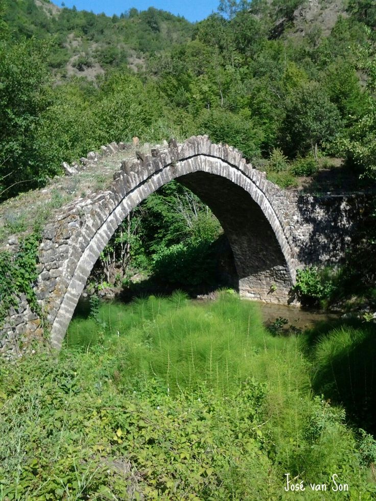 Greece... Bridge near Vrisochori,  Zagoria - Mt. Tymfi; Vrysochori (Greek: Βρυσοχώρι, Aromanian: Leshinitsa, Leshnitsa) is one of the Zagori villages (Zagorochoria), in the Ioannina regional unit, Greece. Vrysochori is in the Tymfi municipal unit, and is about 75 km (50 mi) from Ioannina.