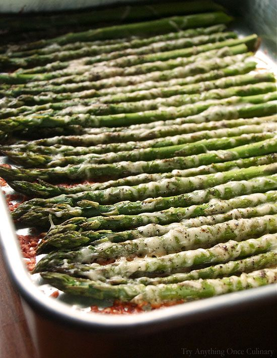 easy roasted parmesan-asparagus uses 2 TBSP EVOO, S&P, 1/3 c freshly grated Parmesan Cheese and optional 1/2 tsp garlic powder at 400 degrees for 10 minutes or so. Add dried cranberries during the holidays to change up the flavor!