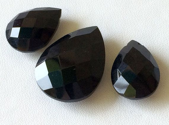 Black Onyx Faceted Drops Black Onyx 3 pc Set by gemsforjewels