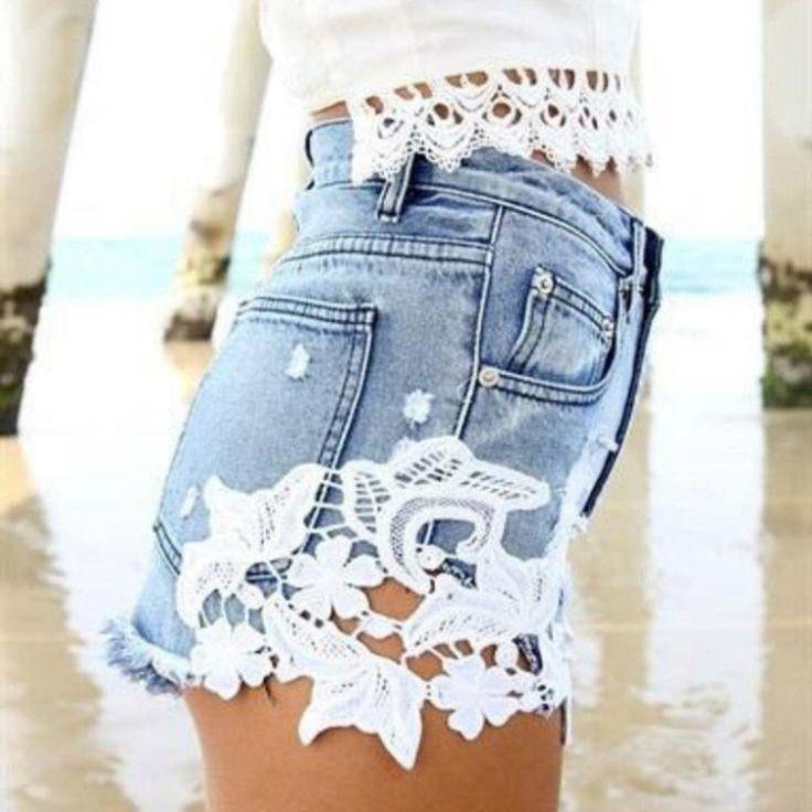 Lace Patchwork Sexy Short Tassel Rough Edges Denim Shorts