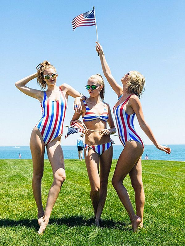 All the details on the cute Solid & Striped swimsuits Gigi Hadid, Cara Delevingne and Taylor Swift wore for the Fourth of July