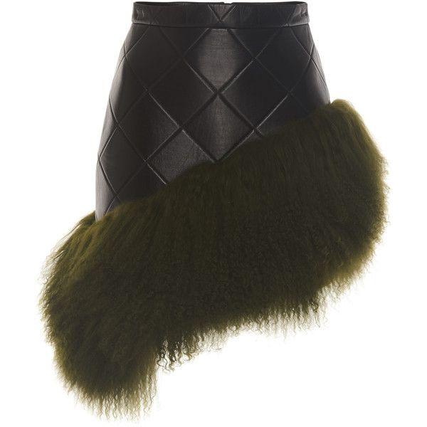 David Koma Mongolian Fur Hem Leather Skirt ($1,350) ❤ liked on Polyvore featuring skirts, black, fur skirt, genuine leather skirt, david koma, asymmetrical skirt and knee length leather skirt