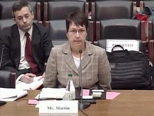 Angela Martin is questioned by Congressman Patrick T. McHenry, Chairman of the Oversight and Investigations Subcommittee, about the alleged discrimination and retaliation she faced at the CFPB. (youtube)