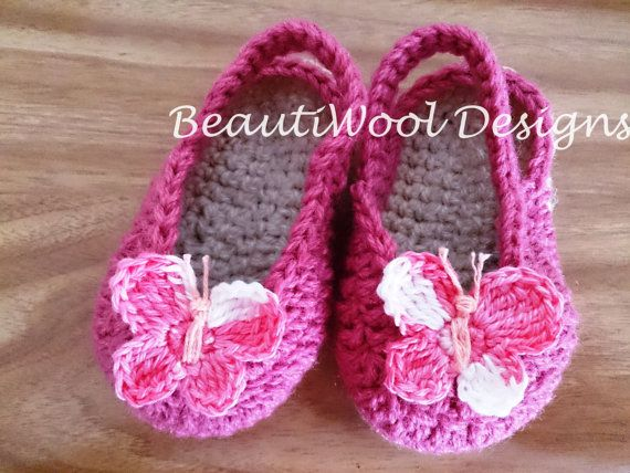 Baby Espadrilles Sandals with Butterfly by BeautiWoolTreasures