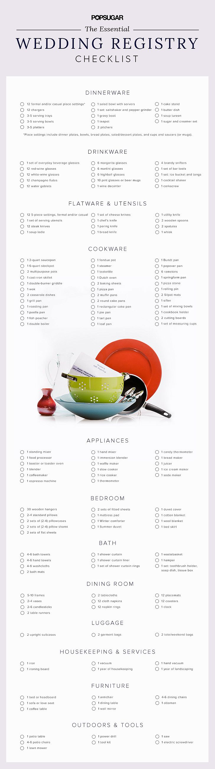 Wedding Registry Checklist | POPSUGAR Food                                                                                                                                                      More