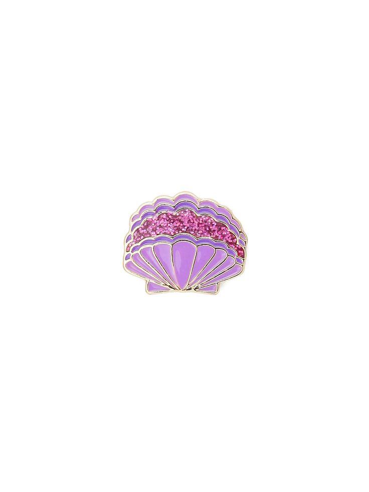 Purple Glitter Shell Pin