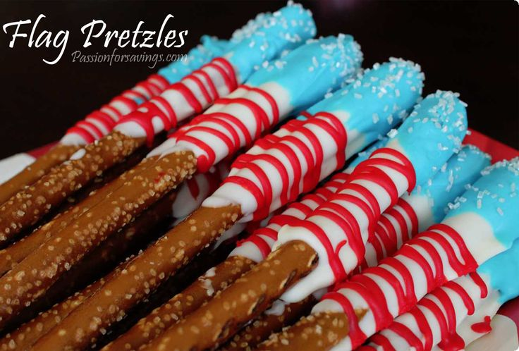 Flag-PretzlesPretzel Rods, Fourth Of July, Chocolates Covers, Flags Pretzels, 4Th Of July, Pretzels Rods, July 4Th Food, Independence Day, Memories Day