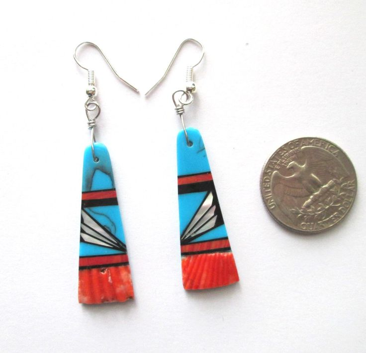 Inlay Earrings Turquoise Spiny Oyster Shell Southwestern by nevadawoodsjewelry on Etsy