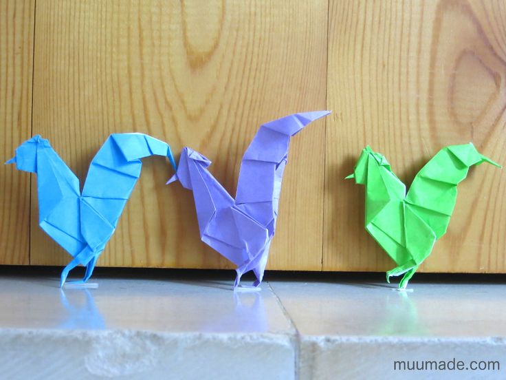 how to make origami roosters and chickens - a fun paper craft for the year of the rooster!
