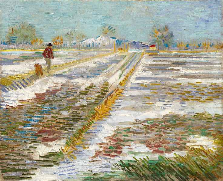Vincent van Gogh, Landscape with Snow, 1888, oil on canvas, 38.2 x 46.2 cm, Solomon R. Guggenheim Museum, New York. Source What a chilly morning! It seems like a good day to publish my first wintery themed artwork of the season.