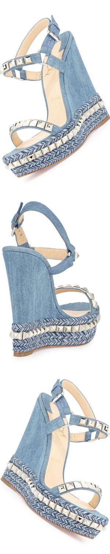 Christian Louboutin Cataclou Denim 140mm Wedge Red Sole Sandal, Blue/Silver