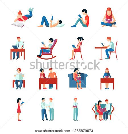 Reading people flat character set with books magazines newspapers isolated vector illustration