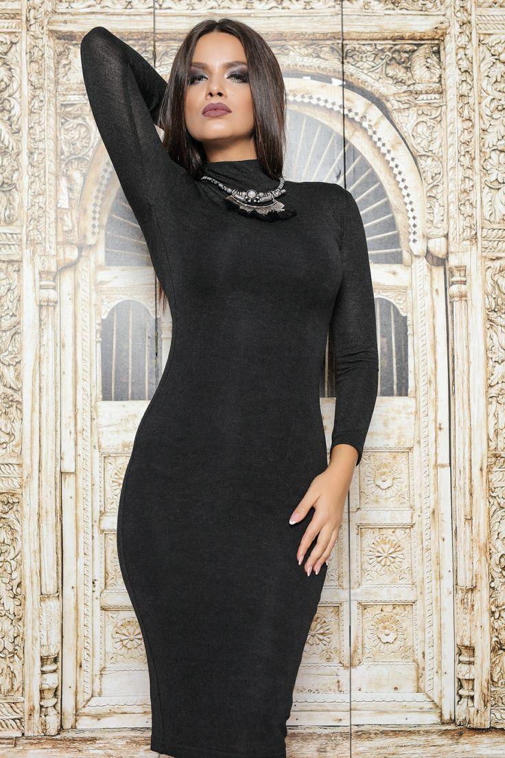 Rochie 3|4 mulata ,din pulover negru, prevazuta cu nasturi la spate