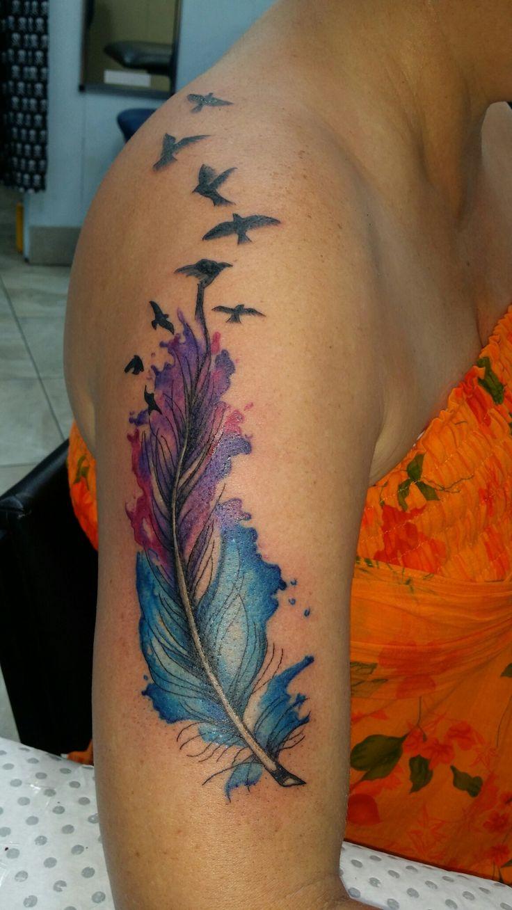 Watercolour feather #RobynGoller #tattoos #whitsundaytattoo #womenstattoodesigns #watercolor #badassairbrushwhitsundays #tattoodesign #oldshopnotthenew #customnotcommon #Tattsgirlie #RobynGoller #whitsundaytattoo #womenstattoodesigns #birds