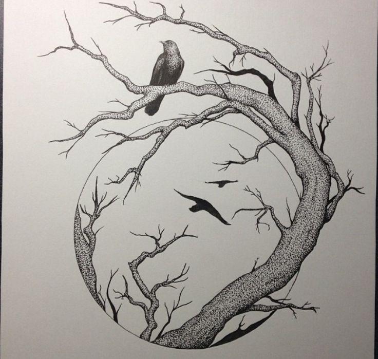 Картинки деревьев и птиц в карандашей