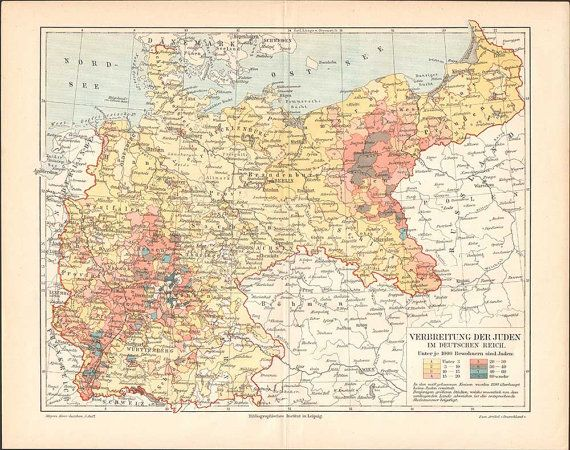 Antique map: Jews spread in germany 1897 // by KuriosartAntique