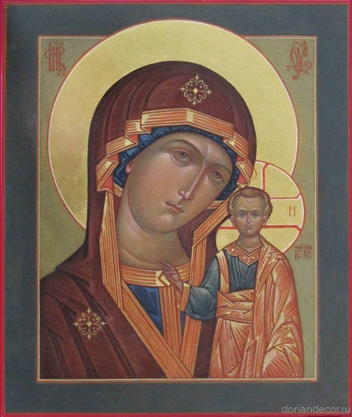 "Svetlana Medvedeva. the Kazan icon of the Mother of God (""Kazanskaya"" icon). 40x30 cm., levkas, gold, tempera, 2014."