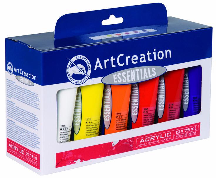 Σετ χρωμάτων ζωγραφικής. Θα τα βρείτε εδώ: https://www.art-colour.gr/zografiki/xromata/set-zografikis.html?p=1  Art Creation Essentials Acrylic Set