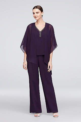 View Flowy Asymmetrical Jacket Plus Size Pantsuit 27633 3