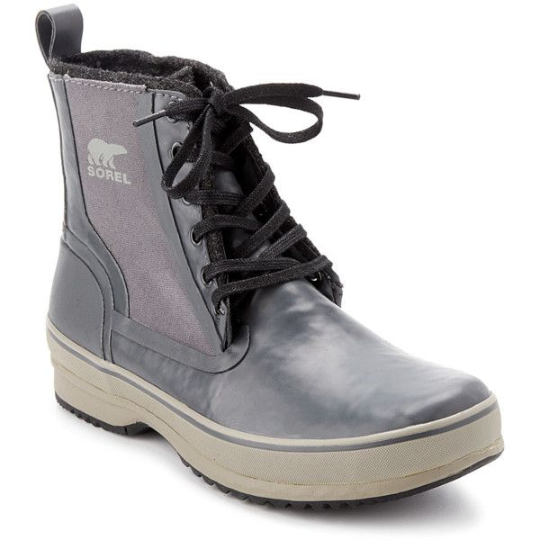 Sorel Sorel Men's Woodbine Rain Boot (396950001) ($95) ❤ liked on Polyvore featuring men's fashion, men's shoes, men's boots, grey, shoes, mens rain boots, mens gray dress shoes, sorel mens boots, mens wellies rain boots and mens gray boots