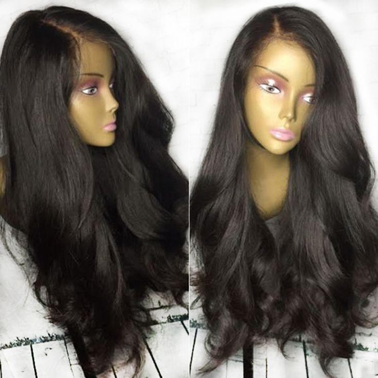 Fashion Gaya Perpisahan Warna Alami Renda Depan Wig Deep Non Remy Brasil Rambut Manusia Wig Dengan Rambut Bayi