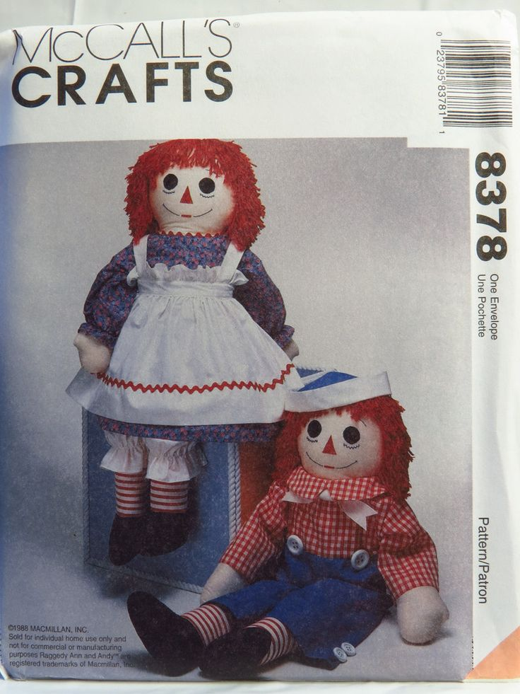 McCall's 8378 Raggedy Ann and Andy™ Dolls with Clothes and Blue Transfers